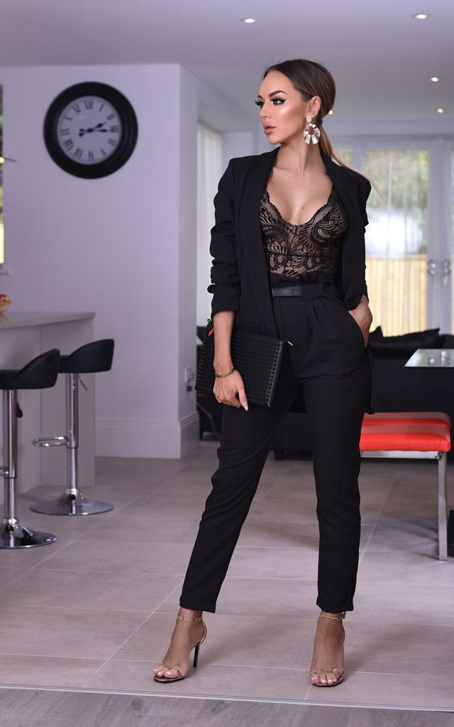 Rihanna Black Mock Pocket Blazer by Missfiga