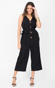 Sleeveless Cropped Jumpsuit with Relaxed Fit in Black by likemary