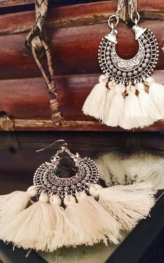 Ivory tassel ethnic earrings by Lovelock jewels