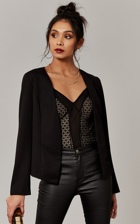 Collarless Blazer in Black by ONLY