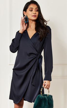 Silky Long Sleeve Wrap Dress in Navy by Luna