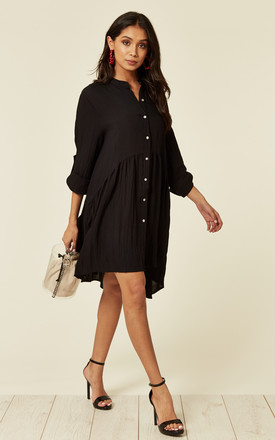 Long Sleeve Oversized Linen Shirt Dress In Plain Black by CY Boutique Product photo