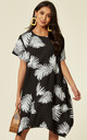 short sleeve shift dress in black and white contrast leaf print by CY Boutique