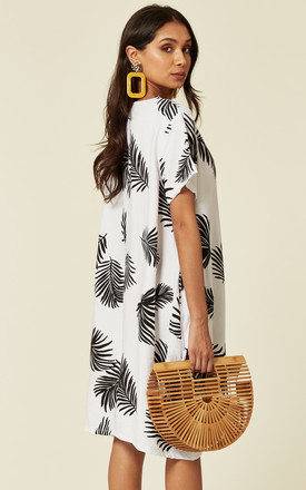 short sleeve shift dress in white and black contrast leaf print by CY Boutique