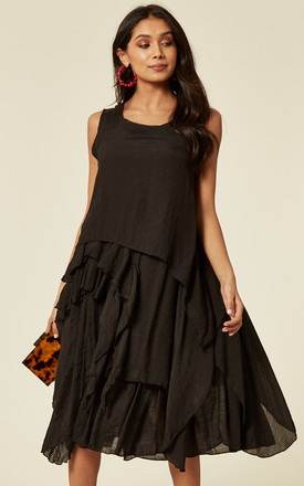 Asymmetric Layer Design Dress With Relaxed Fit In Black by CY Boutique Product photo