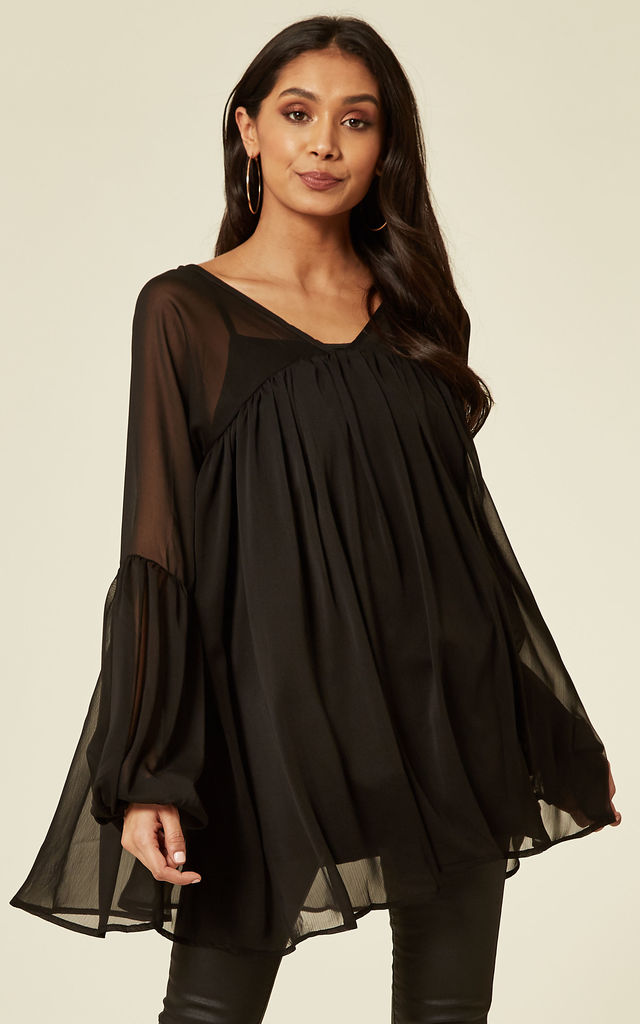Balloon Sleeve Oversized Blouse in Black Chiffon by CY Boutique