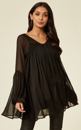 Balloon Sleeve Oversized Blouse In Black Chiffon by CY Boutique Product photo