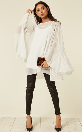 Oversized Bell Sleeve Blouse In White by CY Boutique Product photo