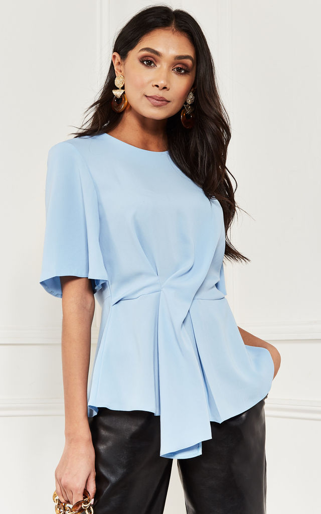Sky Blue Top With Twist Front Detail by Lilah Rose