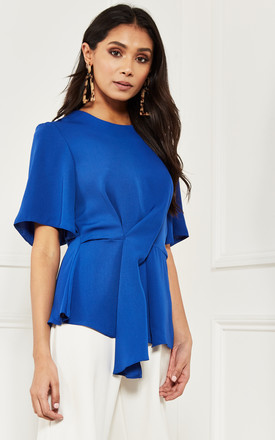 Cobalt Blue Top With Twist Front Detail by Lilah Rose