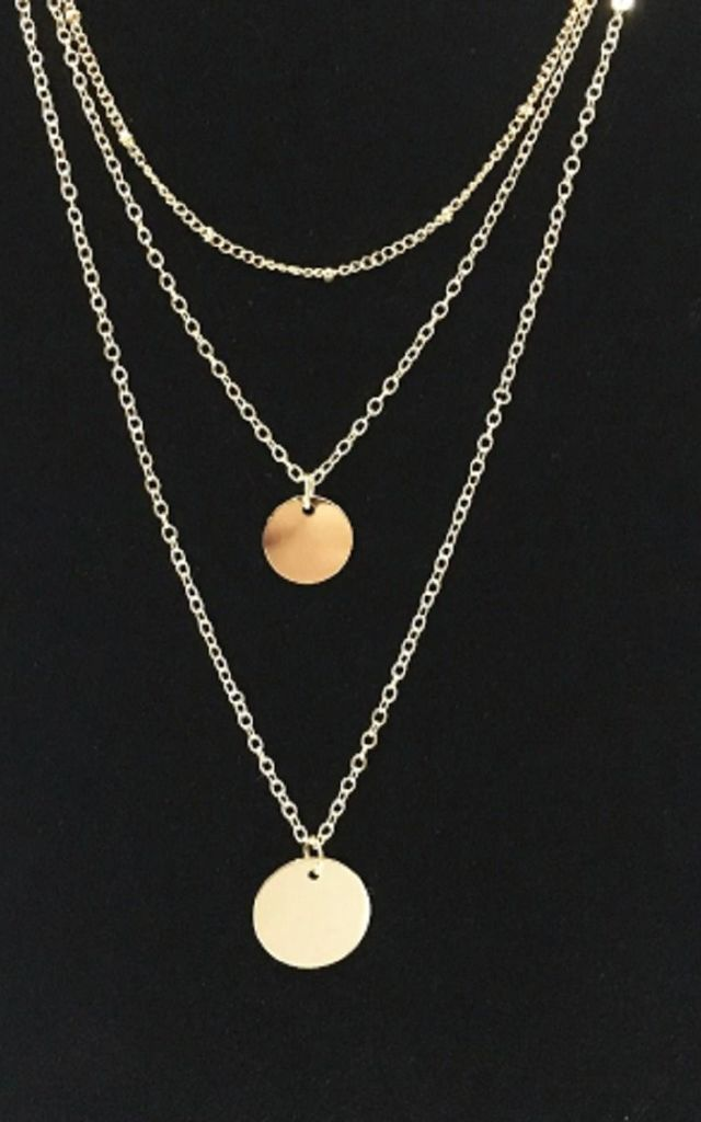 Gold Triple Chain Double Circle Necklace by HAUS OF DECK