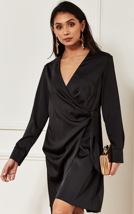 Silky Long Sleeve Wrap Dress In Black by Luna