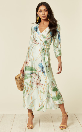 Mint Green Bird Print Wrap Dress 207a34244