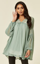 Balloon Sleeve Oversized Blouse in Mint Green by CY Boutique