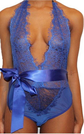 Hypnotize One Piece Bodysuit in Blue by Séduire Lingerie