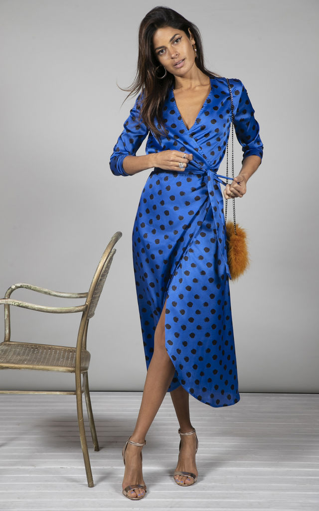 YONDAL DRESS IN BLACK ON BLUE DOTTY by Dancing Leopard