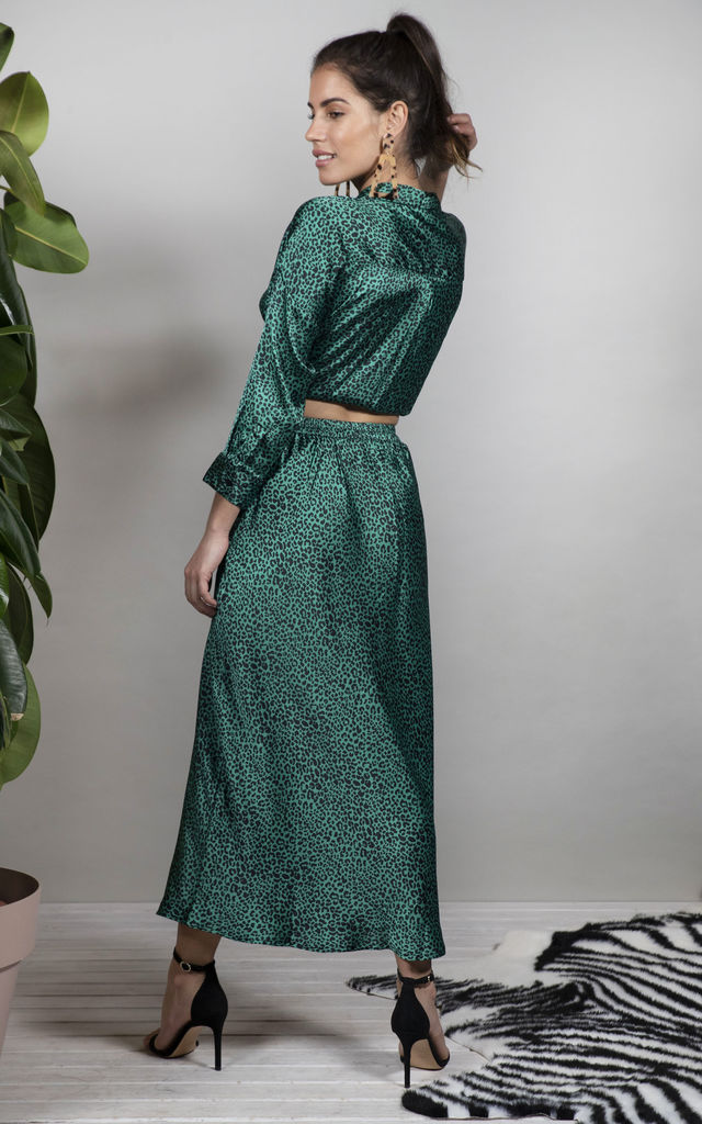 RENZO SKIRT IN SMALL GREEN LEOPARD image