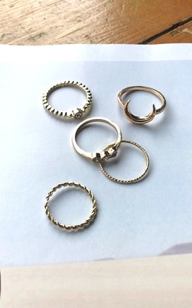 Gold Moon Ring Set by HAUS OF DECK