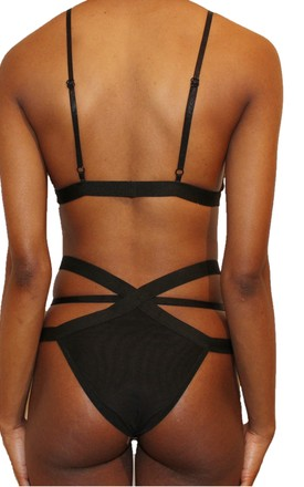 Baddie Strappy Thong in Black by Séduire Lingerie