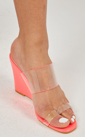 MADELYN – Perspex Straps Fuchsia Wedges by Blue Vanilla