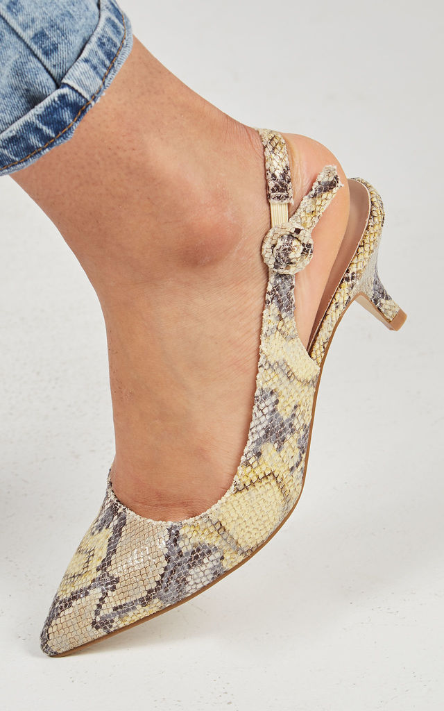 KAYLEE – Pointed Slingback Yellow Snakeskin Print Pumps by Blue Vanilla