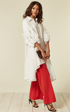 Oversized Shirt Dress With Floral Sleeves In White by CY Boutique Product photo