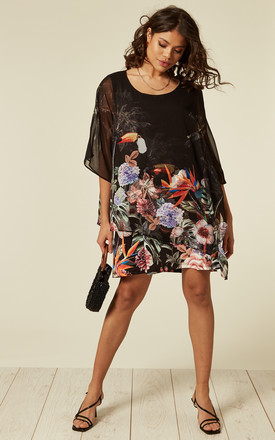 Flowy Shift Dress In Black Floral And Bird Print by CY Boutique Product photo