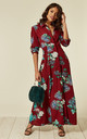 Long Sleeve Maxi Shirt Dress in Red Floral Print by CY Boutique