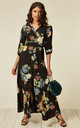 Long Sleeve Maxi Shirt Dress in Black Spring Floral Print by CY Boutique