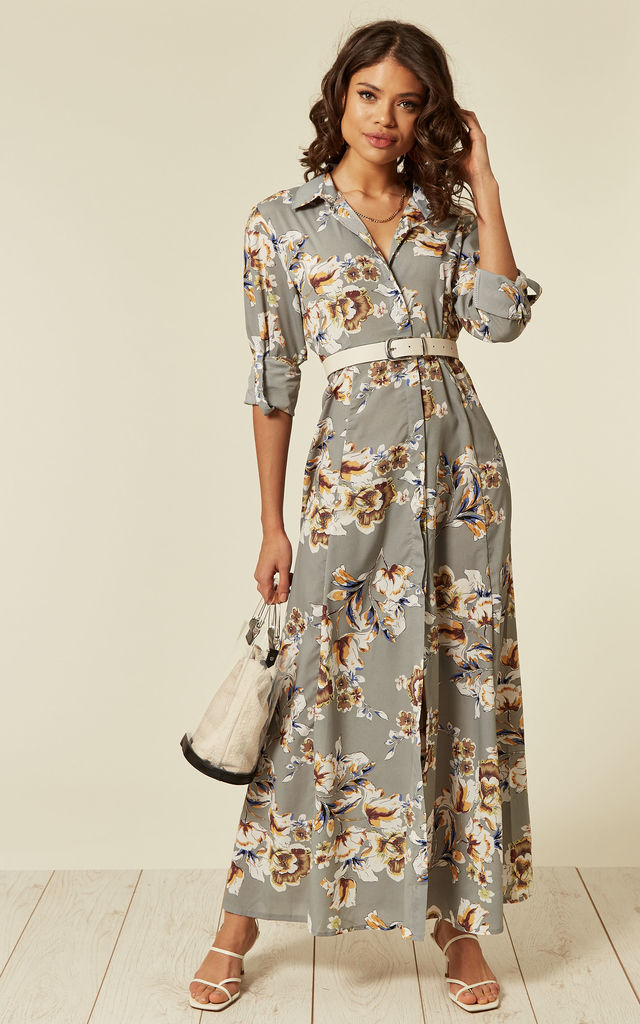 Bekend Long Sleeve Maxi Shirt Dress In Grey Floral Print | CY Boutique @KW61