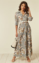 Long Sleeve Maxi Shirt Dress in Grey Floral Print by CY Boutique