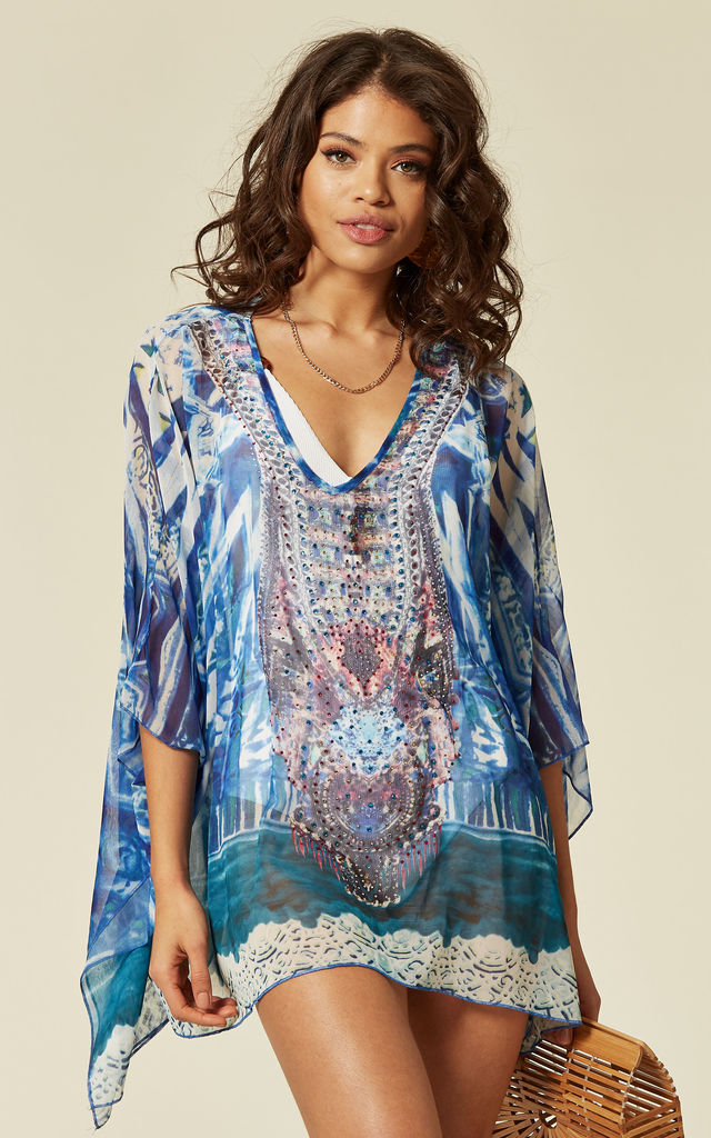 watercolour floral print chiffon kaftan top in blue by CY Boutique