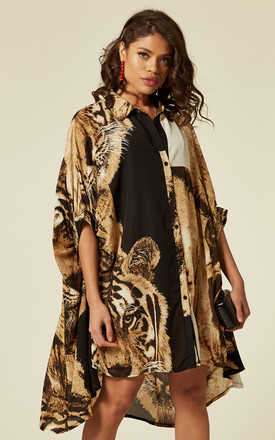 Oversized Batwing Shirt Dress In Tiger Print by CY Boutique Product photo