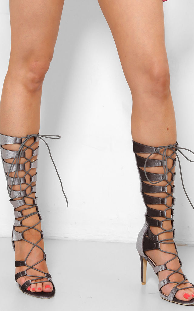 Laced Up Caged Silver Grey High Heel Gladiators by WANTD