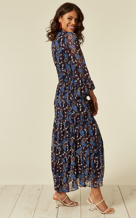 Frilled Sleeve Maxi Dress in Blue Daisy Floral Print by CY Boutique
