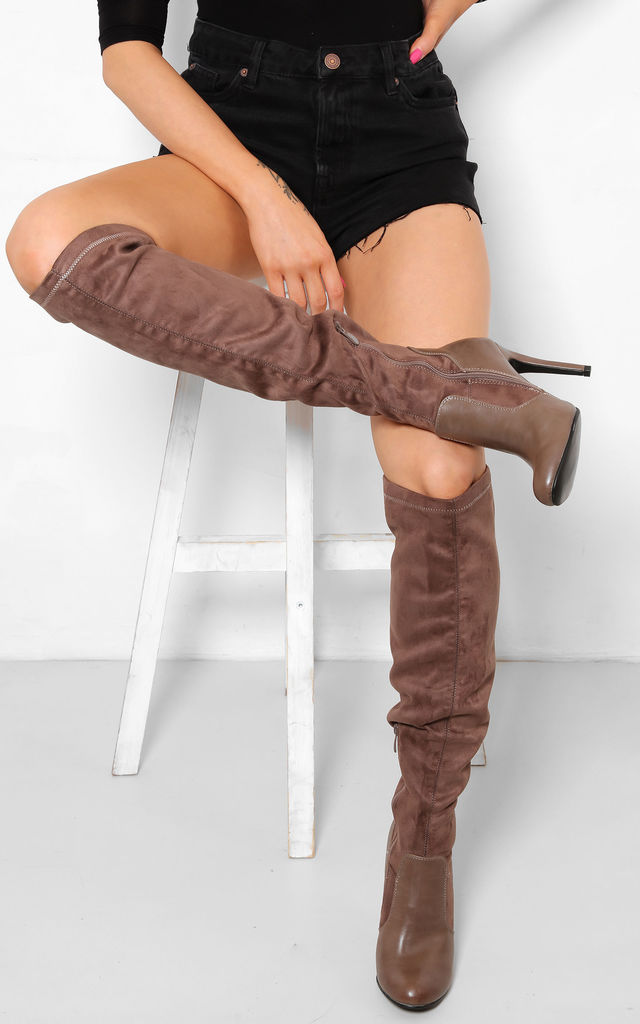 655998f187f Stretch Suedette Brown Khaki Over The Knee High Heel Boots by WANTD