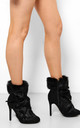 Black Faux Fur Laced Up Stiletto Ankle Boots by WANTD