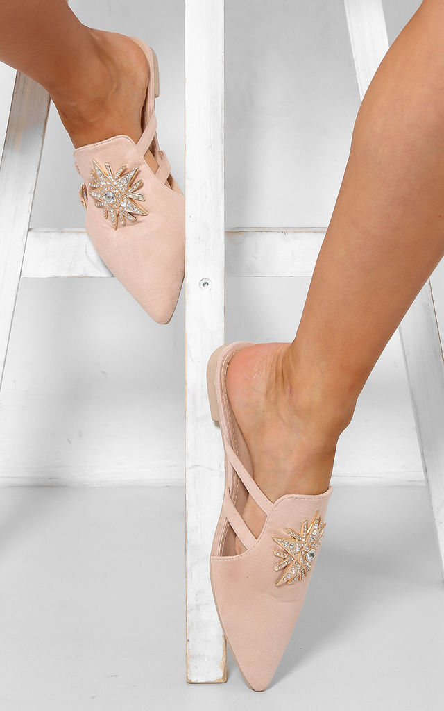Jewelled Beige Point Toe Slipper Shoes by WANTD