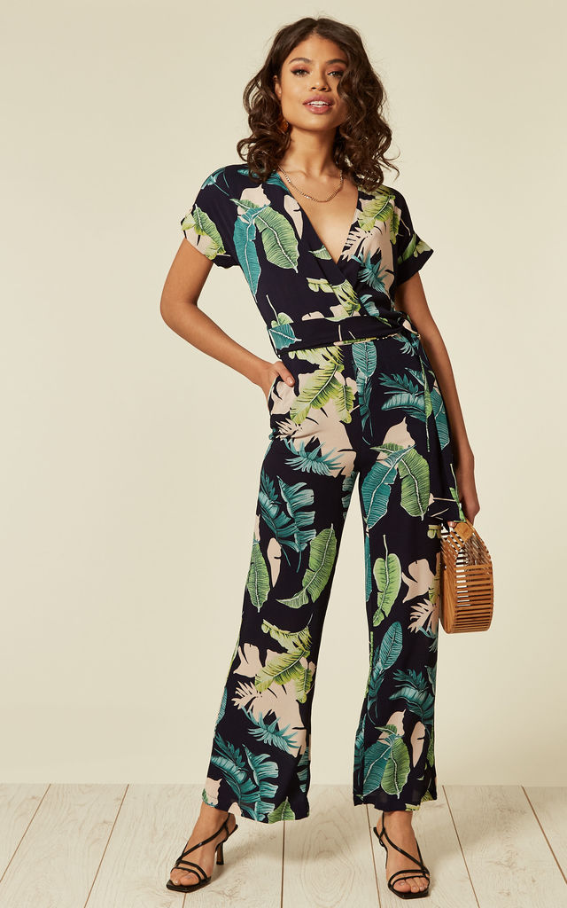 Short Sleeve Jumpsuit in Green Leaf Print by Liquorish