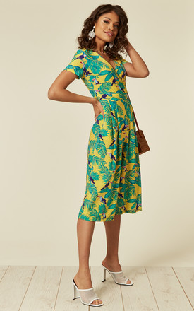Wide Leg Jumpsuit In Yellow Leaf Print by ROCK KANDY Product photo