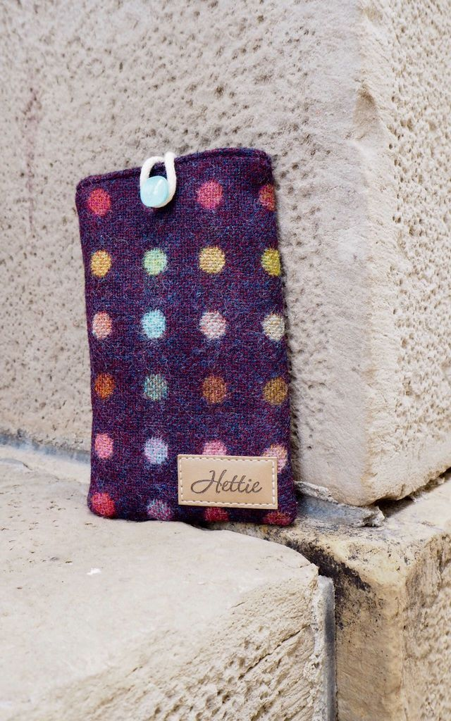 Wool phone case in Wine and Multi Colour Polka Dot by Hettie