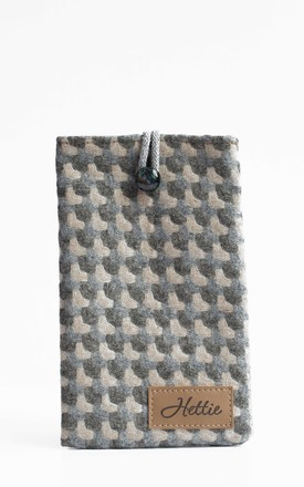 Wool Phone Case in Holborn Taupe Print by Hettie