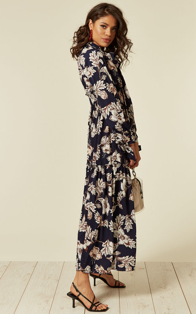 Blue Floral Print Maxi Dress with Tie Up Sleeves by CY Boutique