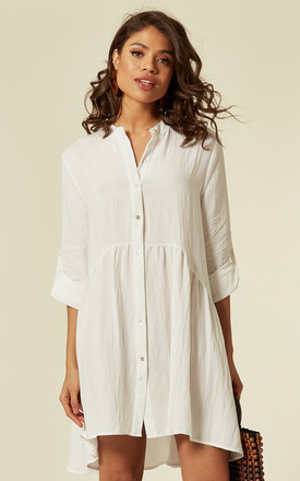 Long Sleeve Oversized Linen Shirt Dress In White by CY Boutique Product photo