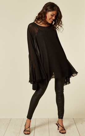Oversized Bell Sleeve Blouse In Black by CY Boutique Product photo
