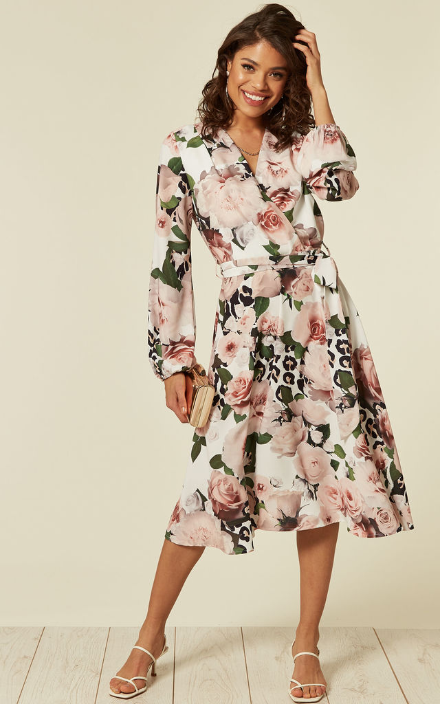 6df00a7d566b3 Wrap Front Midi Dress In Rose Floral Print | FLOUNCE LONDON | SilkFred