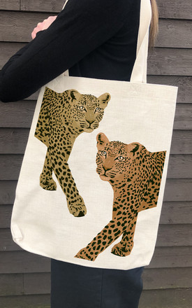 Canvas Tote Bag in Linen with Leopard Print by Art Wow