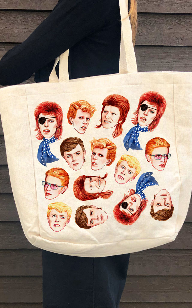 Canvas Beach Bag in Linen with David Bowie Inspired Print by Art Wow