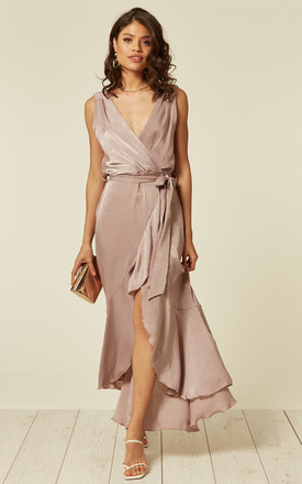 WRAP FRONT MAXI DRESS IN ANTIQUE by FLOUNCE LONDON