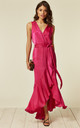 WRAP FRONT MAXI DRESS IN HOT PINK by FLOUNCE LONDON